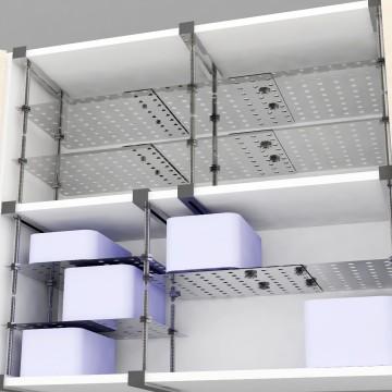 Assembling shelves in cupboard