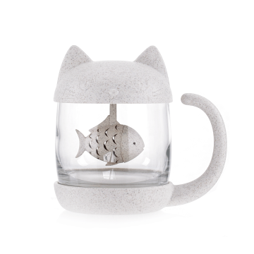 Cat Tea Infuser Glass Mug