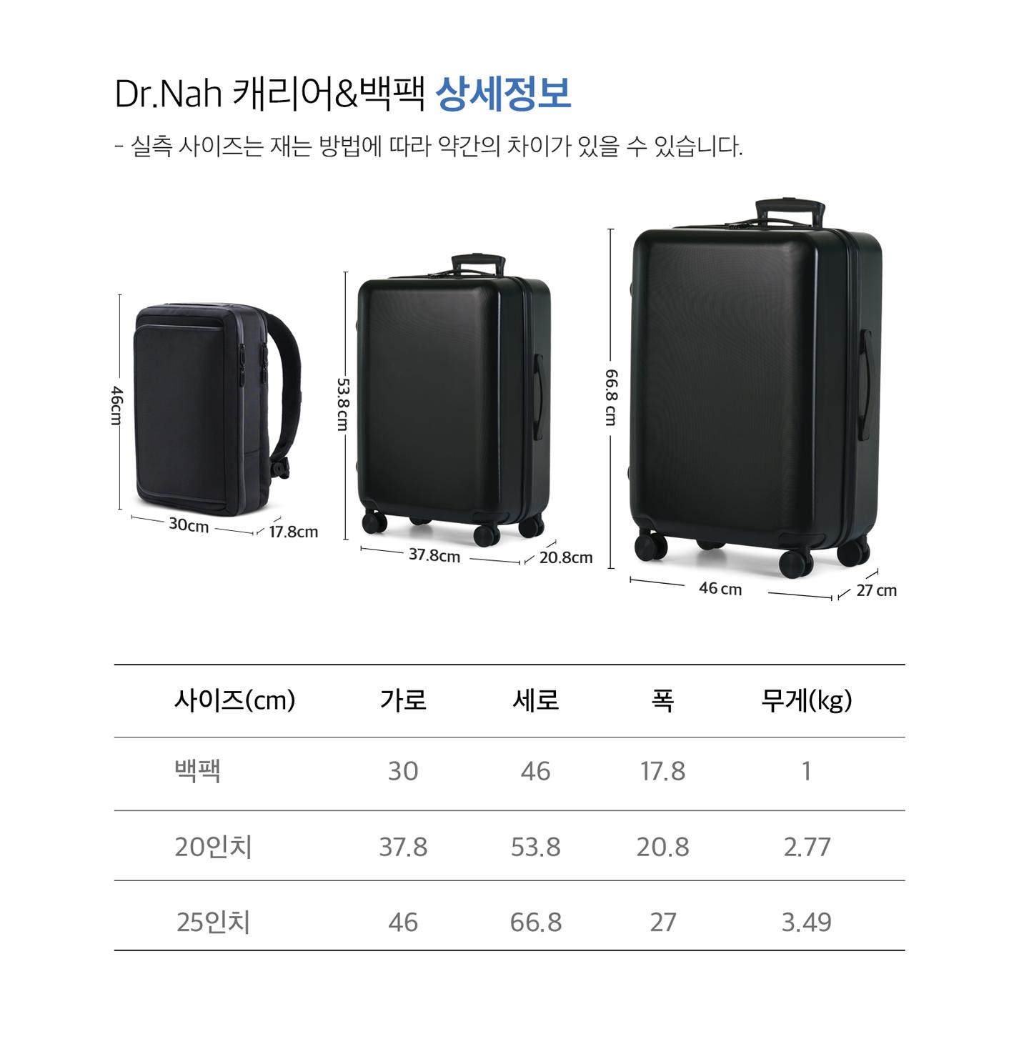NEW샤플 Dr.Nah세트(캐리어20'/25'+백팩)1
